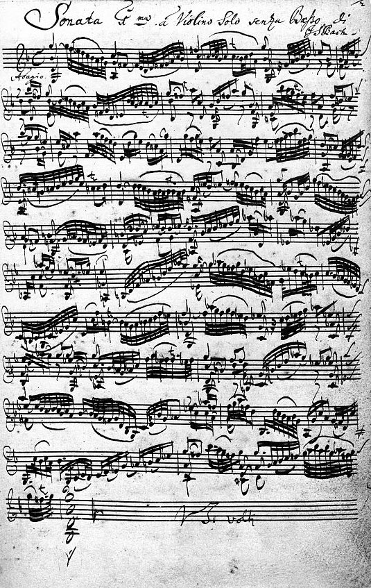 Sonata for solo violin #1 in G minor BWV 1001, Johann Sebastian Bach, front page of the autograph