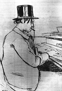 """Satie playing the harmonium"". Charcoal drawing by Santiago Rusiñol, 1891"