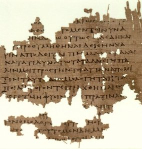 Parts of P.Oxy. LII 3679, 3rd century, containing fragments of Plato's <i>Republic</i>.